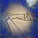 Ruth Pheasant During Piano Performance Blue Painting Effect
