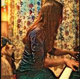 Ruth Pheasant and Cat at the Piano